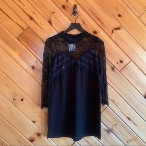 NWT Zara Lace Longsleeve Slip Dress XS Black Blue